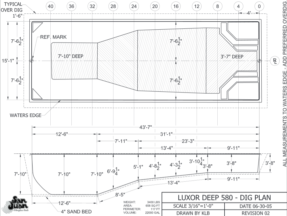 Luxor deep dig plan artistic pools for Pool dimensions